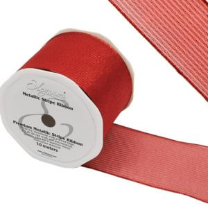 Eleganza Red Metallic Stripe Ribbon