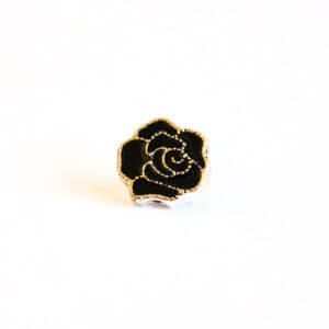 Black Flower Button With Gold Trim