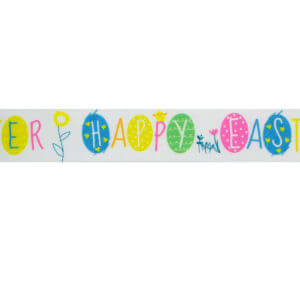 Happy Easter Ribbon Decorated With Eggs