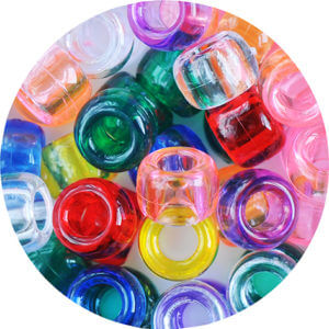 Multicoloured variety of small glassy beads