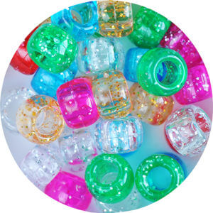 Multicoloured variety of small glittery beads