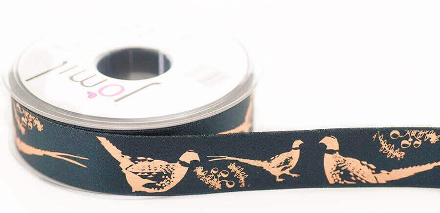 14586, foil pheasant print ribbon 25mm x 20 metres