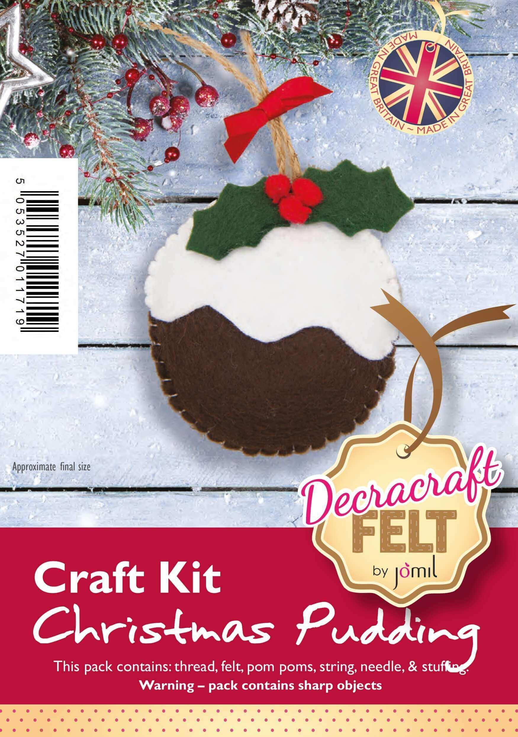 Felt Christmas Decorations Uk.Fk11 Decracraft Felt Christmas Pudding Kit 3 Pieces